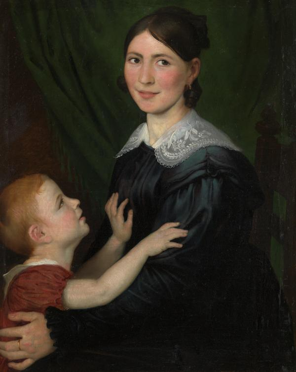 Mid-19th C, Romantic,Portrait, Antoine Wiertz (Dinant, 1806- Ixelles,1865), Portrait of a Mother and her Son, Oil on Canvas, 97.5 x 82 x 8 cm, Framed.