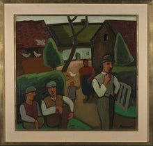 Charger l'image dans la galerie, Early 20th C, Brabant Fauvism, Signed Louis François Decoeur (Namur,1884-1960), Farming Family on a Sunday Morning, Oil on Canvas, 79 x 85 cm,  Framed.