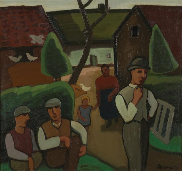 Early 20th C, Brabant Fauvism, Signed Louis François Decoeur (Namur,1884-1960), Farming Family on a Sunday Morning, Oil on Canvas, 79 x 85 cm,  Framed.