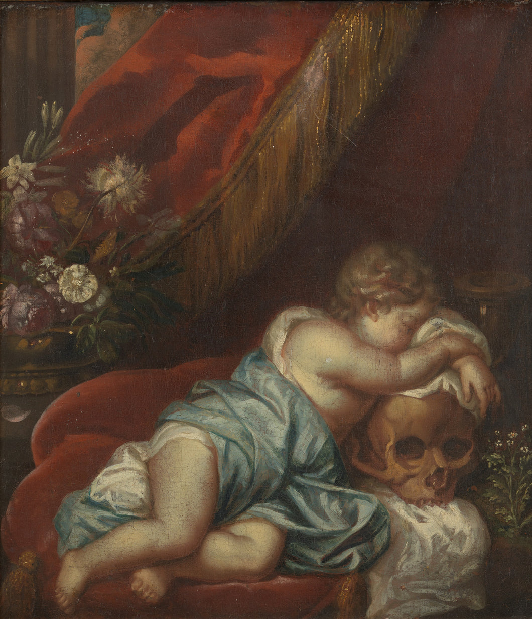 18th C, Late Baroque Style, Still Life, Dutch  School, Vanitas Scene with Cherub leaning on a Skull, Oil on Canvas, 77.5 x 71x 7 cm, Framed