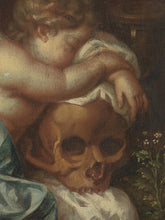 Load image into Gallery viewer, 18th C, Late Baroque Style, Still Life, Dutch  School, Vanitas Scene with Cherub leaning on a Skull, Oil on Canvas, 77.5 x 71x 7 cm, Framed