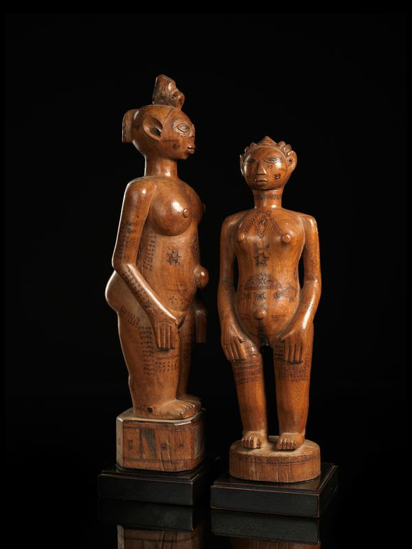 Zela People, DRC. Wooden Ancestor Couple with Scarifications.
