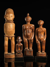 "Load image into Gallery viewer, Bakongo People, DRC. Wooden Mother and Child ""Phemba"" Statue."