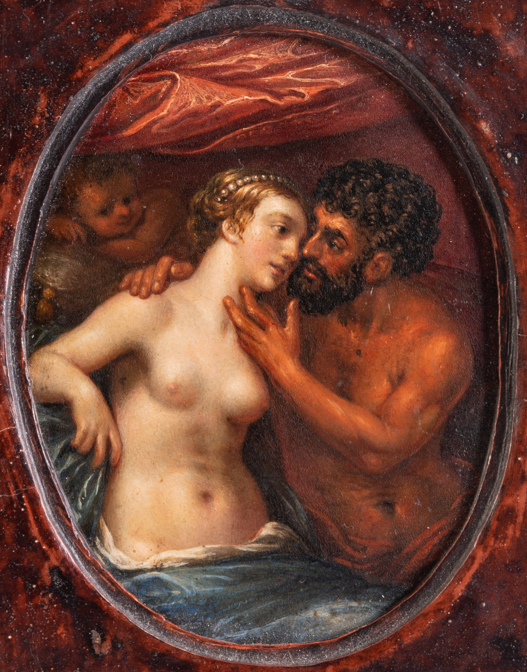 17th C, Mannerism Mythology,  Attr. to Pieter Fransz Isaacsz (Helsingør, 1568-1625), Mars and Venus in Embrace,Oil on Panel, 10,8 x 8,3 cm oval, Framed.