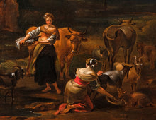 Load image into Gallery viewer, 17th C, Baroque Landscape, Signed N. Berchem (Haarlem, 1621/'22 – Amsterdam,1683), Temple at Tivoli, populated with a Shepherd, two Shepherdesses and Animals, Oil on Canvas, 57 X 65 cm, Framed.