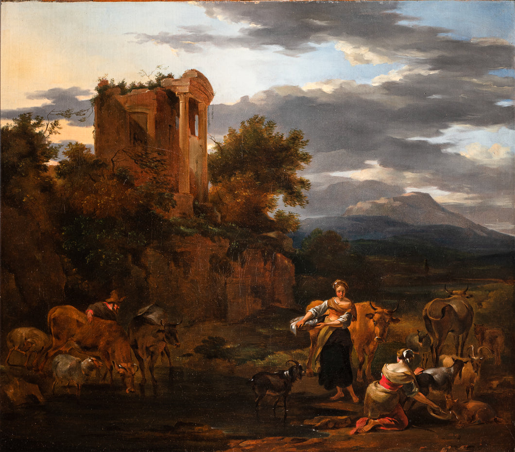 17th C, Baroque Landscape, Signed N. Berchem (Haarlem, 1621/'22 – Amsterdam,1683), Temple at Tivoli, populated with a Shepherd, two Shepherdesses and Animals, Oil on Canvas, 57 X 65 cm, Framed.