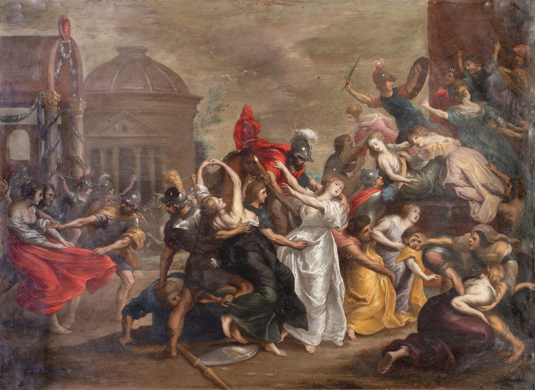 17th C, Dated 1632, Baroque, Historical, Simon Floquet (Floeket, Flokeet, Flo(c)quet) (Antwerp?, c. 1615 – Antwerp?, after 1635); The Abduction of the Sabine Women, Oil on Copper, 71 x 88 cm, Framed
