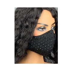 Black Face Mask with Rhinestones