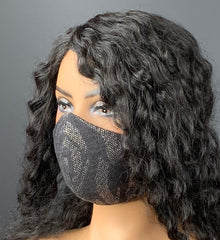 Gray and Matte Silver textured print Face Mask