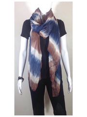 Soft Blue, Brown and White Gradient Stripe Long  Silk Chiffon Scarf