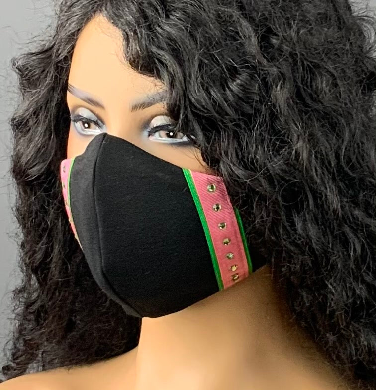 Black Face Mask with Pink and Green Trim