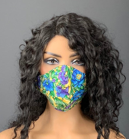Floral Stained Glass Print Face Mask