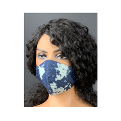 Unisex Blue Denim with White Bleached Print Face Mask