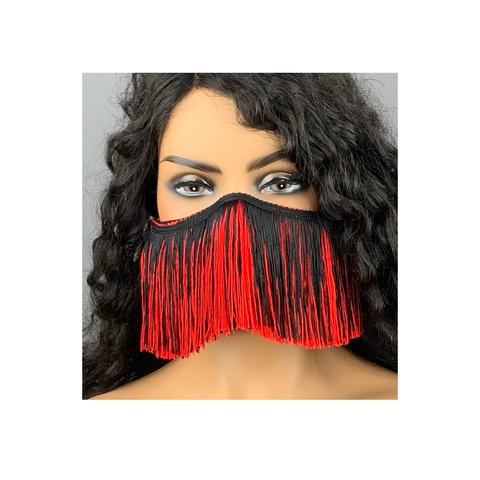 Red and Black Fringe Face Mask