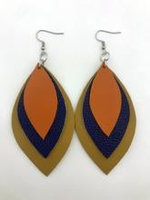 Leather 3 Leaf Earrings- Tan/Blue/Orange