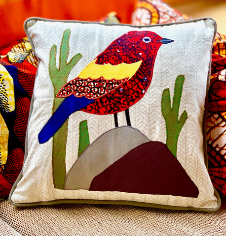Bird with Cactus Pillow