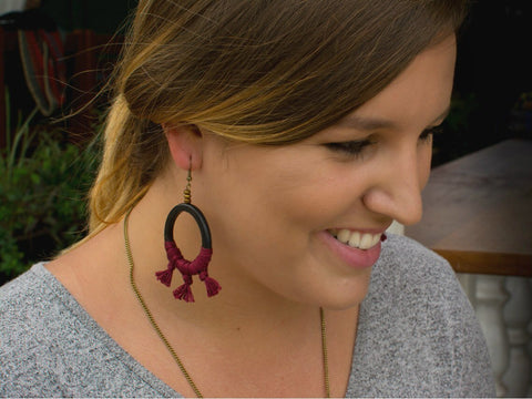 Horn Circle and Tassel Earrings