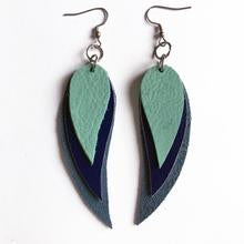 Leather 3 Crescent Leaf- Blue Trio