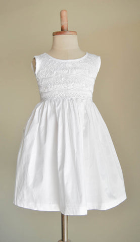 White Hand Smocked Girl's Dress