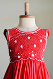 Red Hand Smocked Girl's Dress