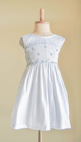 Blue Floral Hand Smocked Girl's Dress