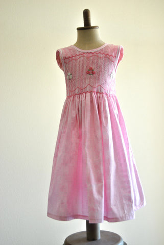 Pink and White Gingham Hand Smocked Dress