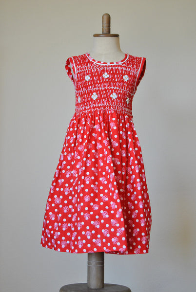 Candy Apple with White Dots and Daisies Hand Smocked Dress