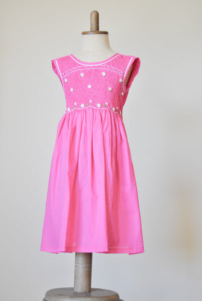 Cotton Candy Pink with White and Pink Flower Embroidery Smocked Dress