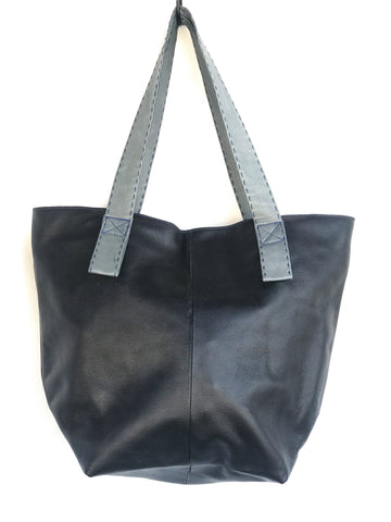 Black and Gray Strap Lambskin Large Tote