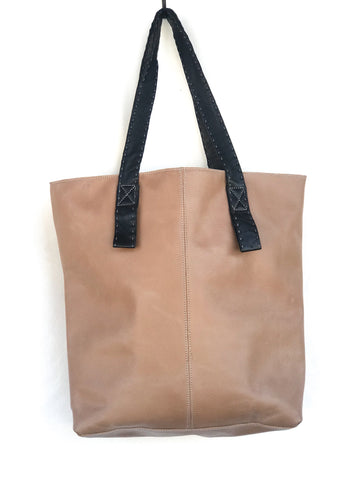 Tan with Black Handle Tote