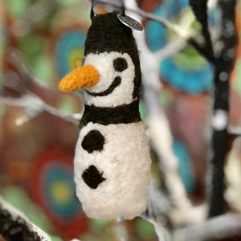 Felted Snowman Ornament