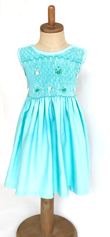 Aquamarine with White Trim Hand Smocked Dress
