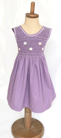 Violet Corduroy Hand Smocked Girl's Dress