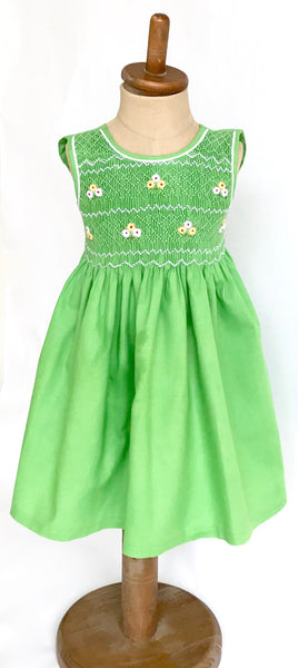 Apple Green with White Daises Hand Smocked Dress