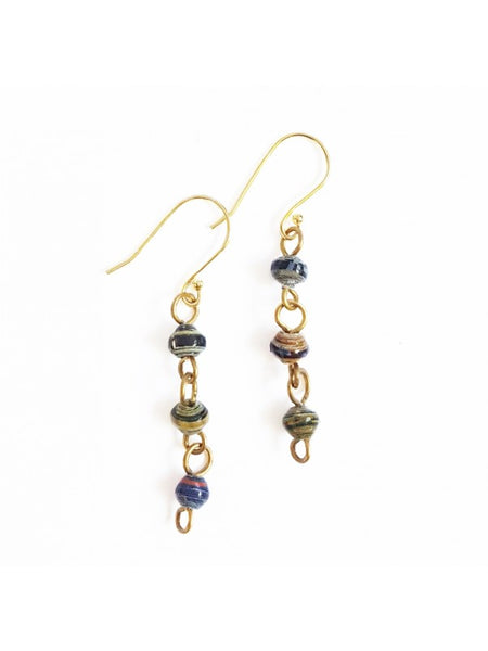 Paper Bead Drop Earrings