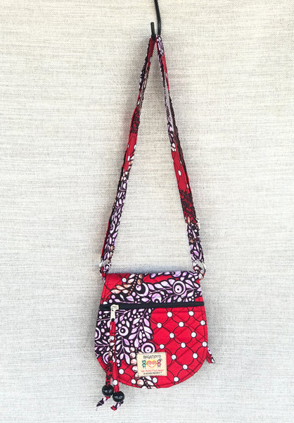Small Cross Body Bag- Red Pearls