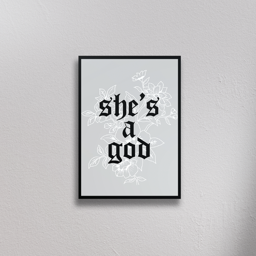 she's a god neck deep print illustration home decor ideas university dorm decoration styling inspo graphic design cute wall print posters gothic grunge