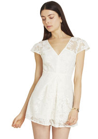 BCBGeneration Cream Lace Romper