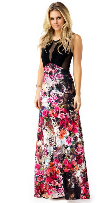 Sky - Pansy Black Maxi Dress