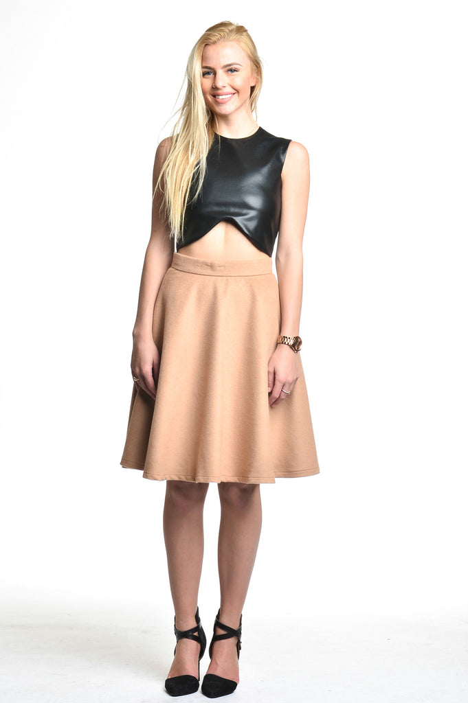 BLAQUE LABEL CAMEL CIRCLE SKIRT