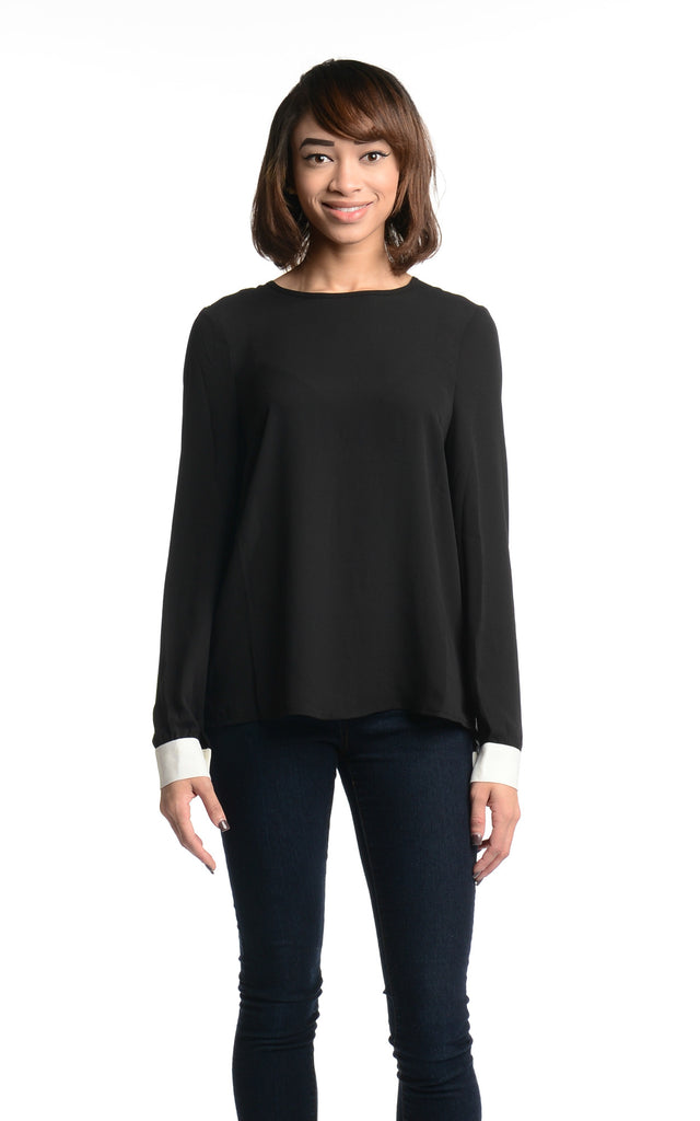 Blaque Label Contrast Blouse With Closure