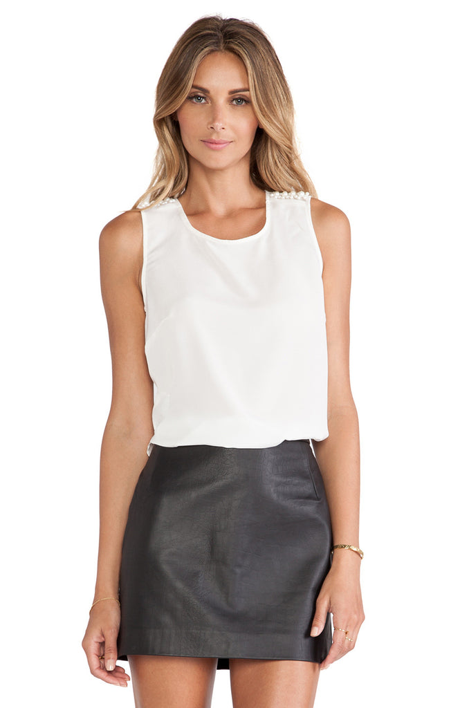 BCBGeneration Sleeveless Pearl-Trim Top