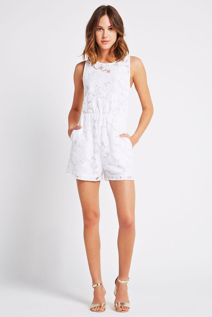 BCBGeneration - Sleeveless Lace Romper