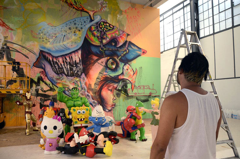 David Choe Snowman Monkey BBQ Art Show in Mexico City