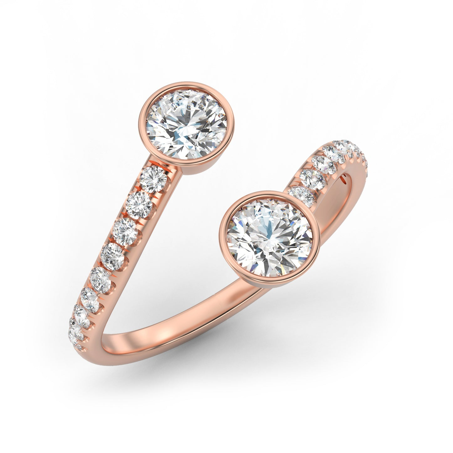 Details about  /Natural Diamond Swirl Bypass Ring Silver//Gold  Size 3-13