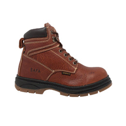 "Men's Dark Brown 6"" Waterproof Steel Toe Work Boot - 1030 - Shop Genuine Leather men & women's boots online 