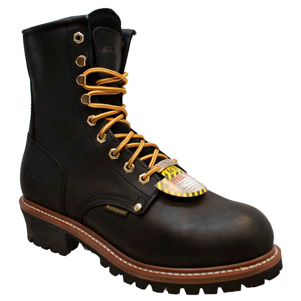 "Men's 9"" Waterproof Steel Toe Logger Black - 1428WP - Shop Genuine Leather men & women's boots online 