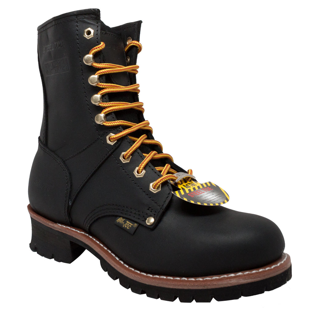 "Men's 9"" Steel Toe Logger Black - 1428 - Shop Genuine Leather men & women's boots online 