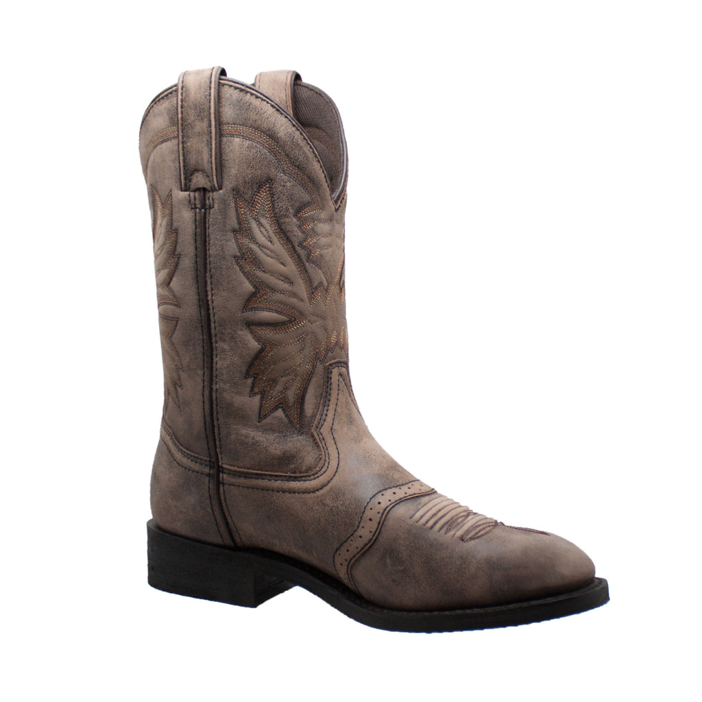 "1553-SBR Men's 11"" Round Toe Stonewashed Pull On Western Brown"
