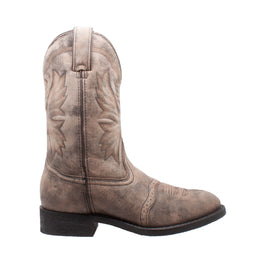 "Men's 11"" Round Toe Stonewashed Pull On Western Brown - 1553-SBR - Shop Genuine Leather men & women's boots online 